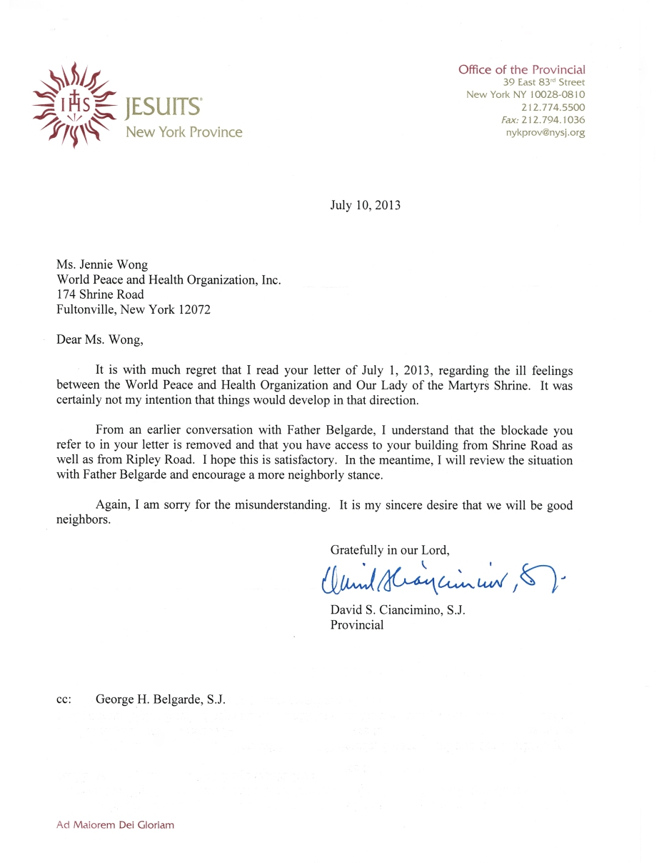 Jesuit reply received on July 17,2013