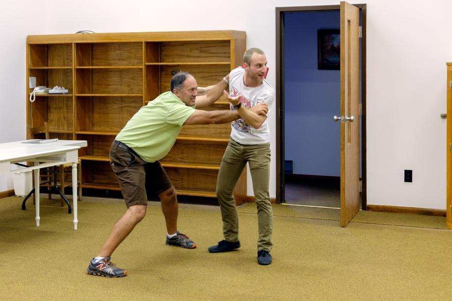Jon Fremante and David De Fazio rehearse a fight scene.